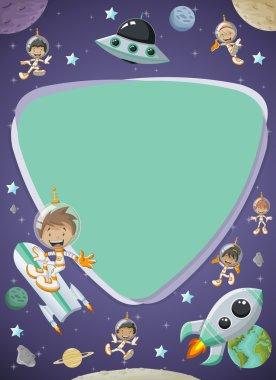 Futuristic screen board with astronaut cartoon children