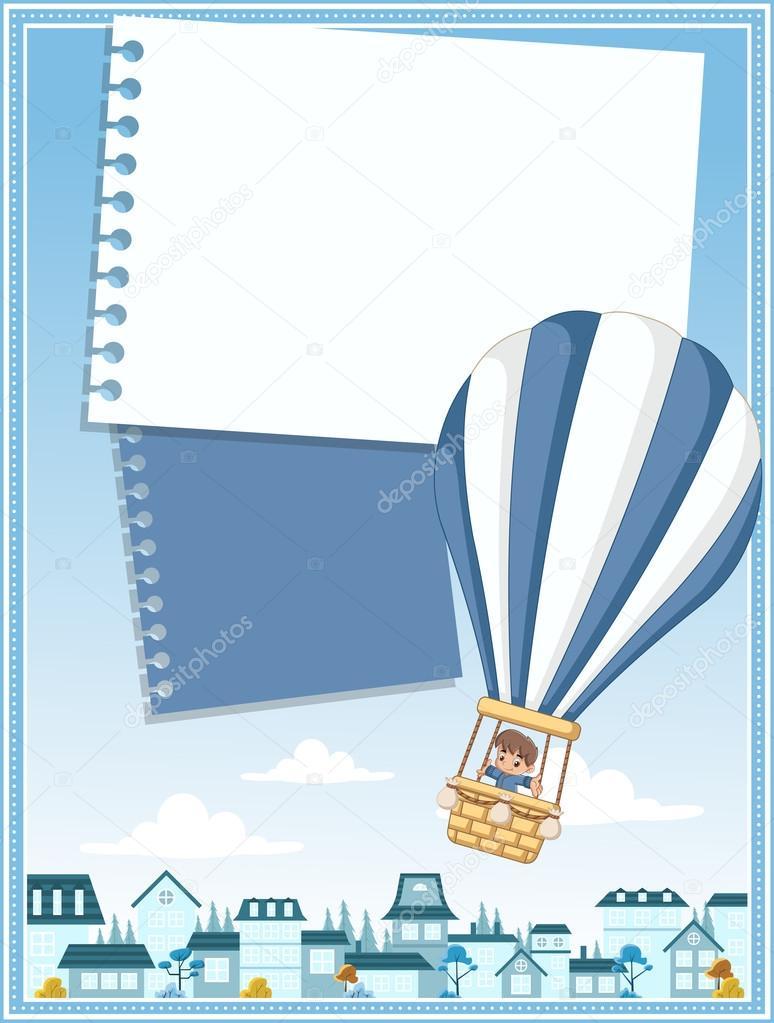 Tarjeta de bebé de dibujos animados dentro de un vuelo de globo de ...