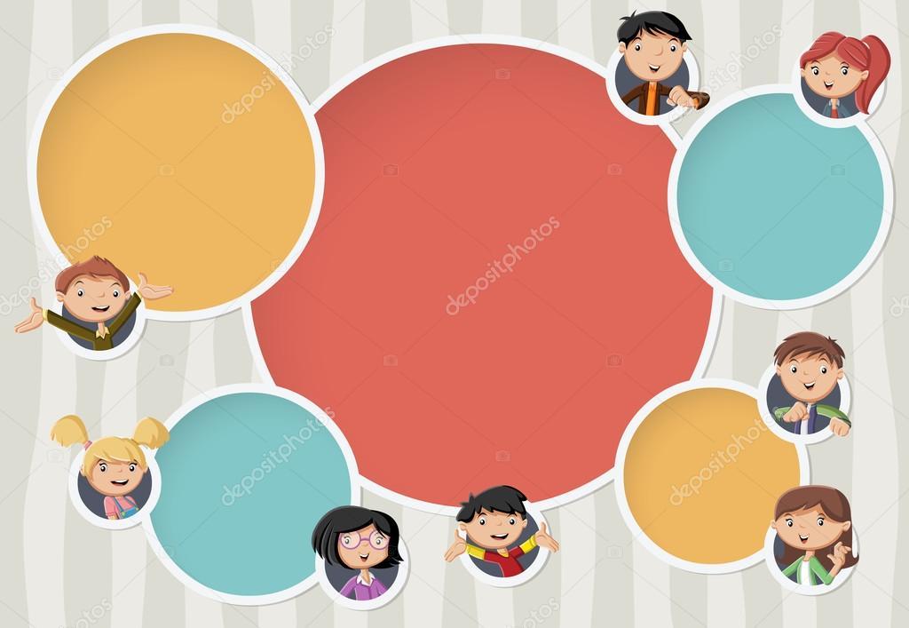 Vektor Banner Hintergrunde Mit Cartoon Familie Kreis Frames Fur Text Infografik Template Design Kugeln Von Deniscristo