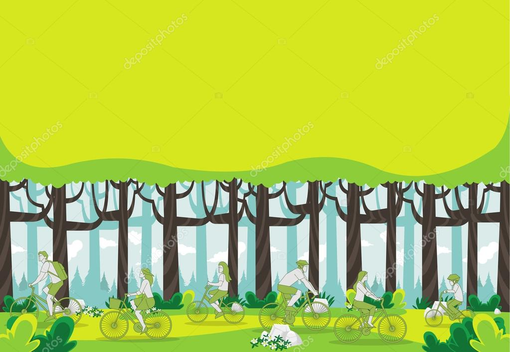 forest with people riding bicycles