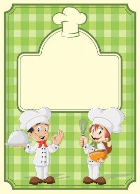 cartoon chefs cooking.