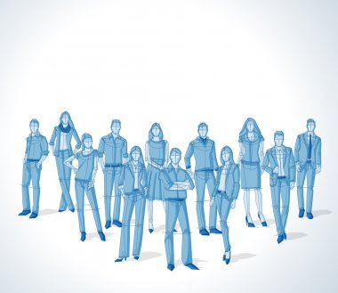 Group of blue business people