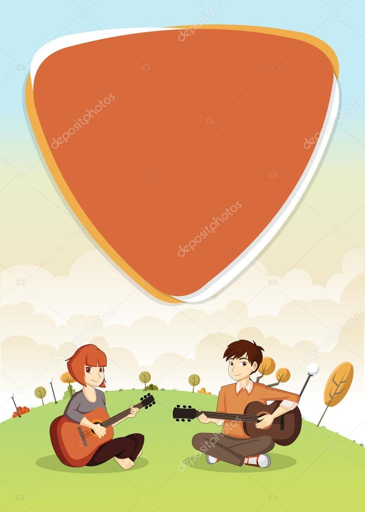 Template with cartoon teenagers playing guitar on green park