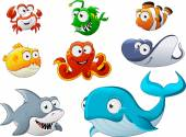 Photo Group of cartoon underwater animal.