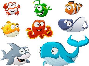 Group of cartoon underwater animal.