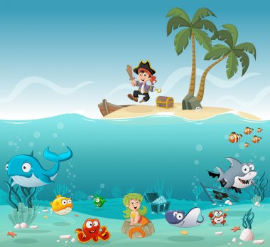 Tropical island with cartoon pirate boy
