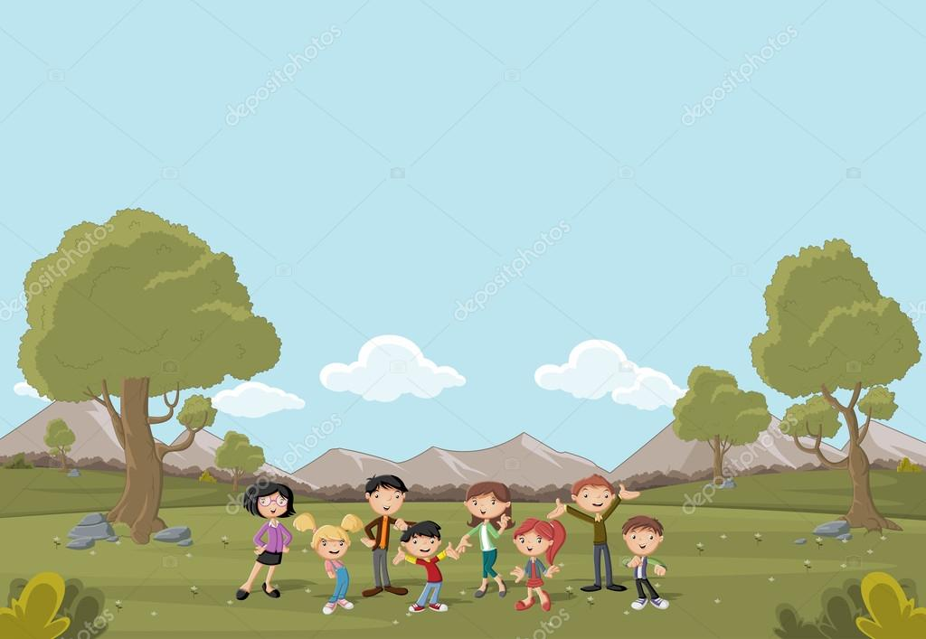 Cartoon family in a green park with grass and trees.