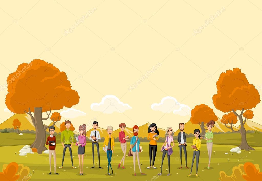 Imágenes: Parque Con Personas Dibujo