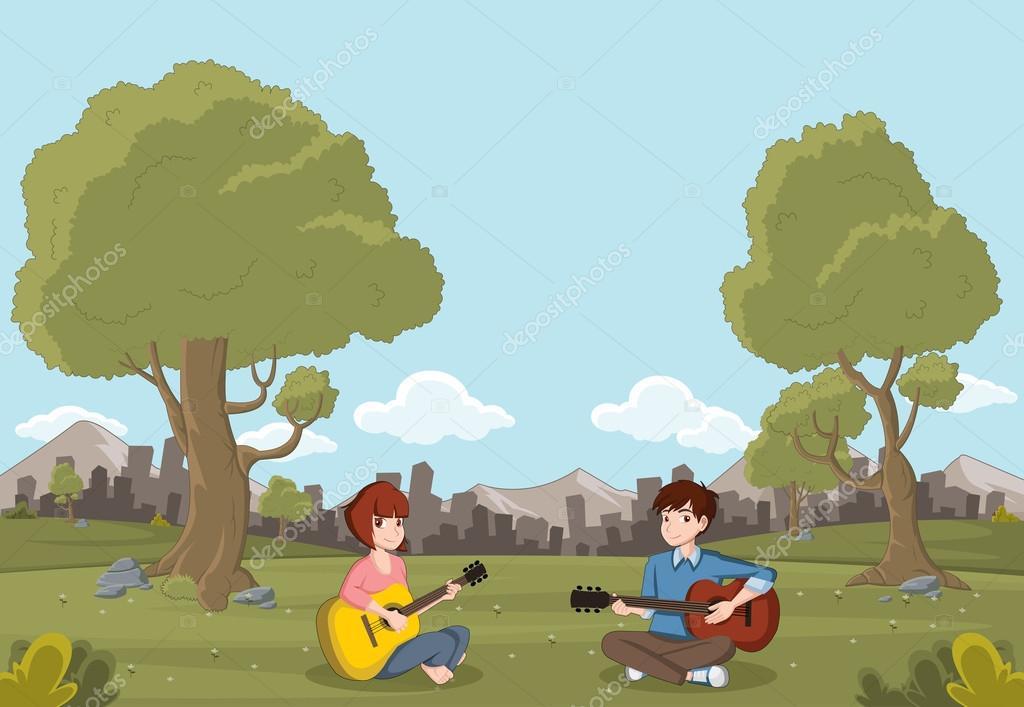Cartoon teenagers playing guitar on beautiful park.