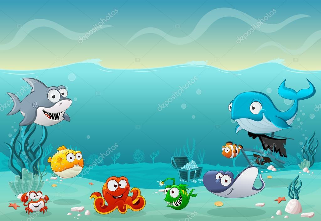 Dibujos Animados De Peces Bajo El Mar