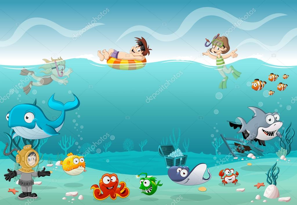 Kids wearing Scuba diving suit and swimming with fish under the sea.