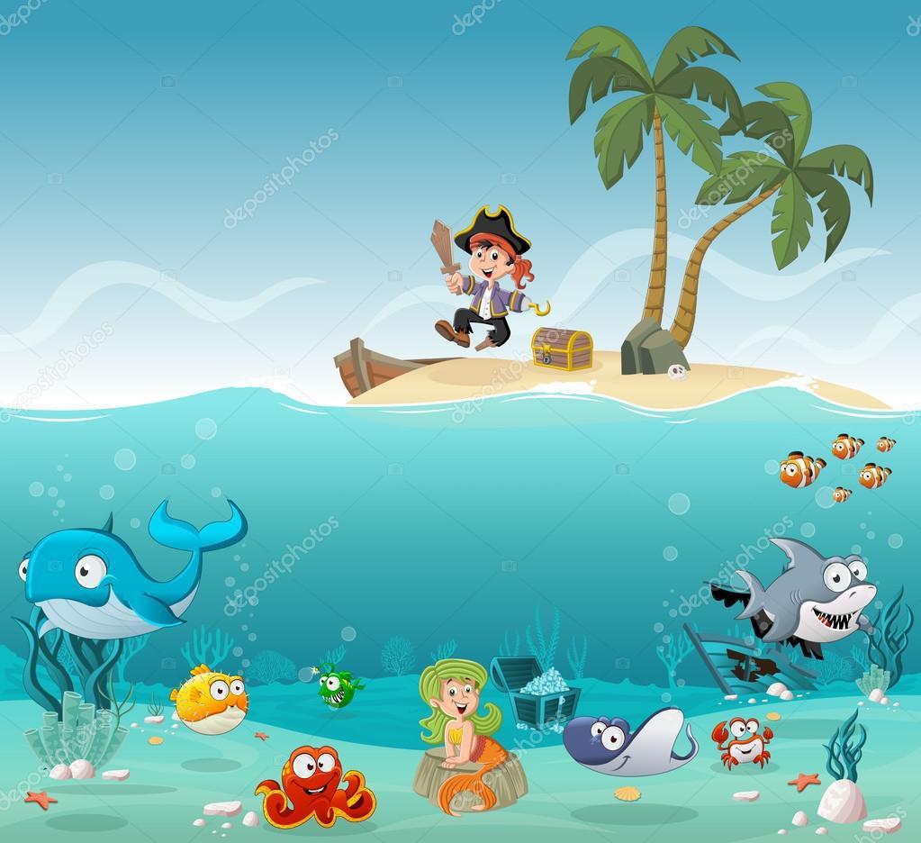 Isla tropical con ni o de pirata de dibujos animados vector de stock deniscristo 122056302 - Islas con ninos ...