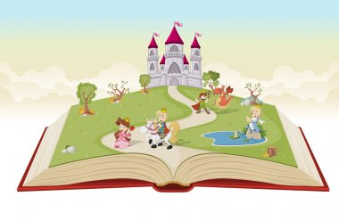 Open book with cartoon princesses and princes