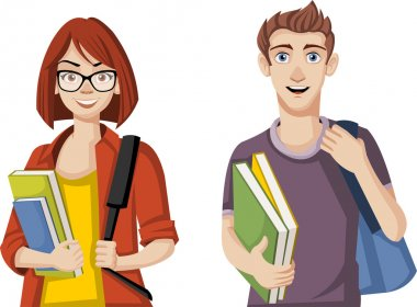 Teenager couple with backpacks and books.