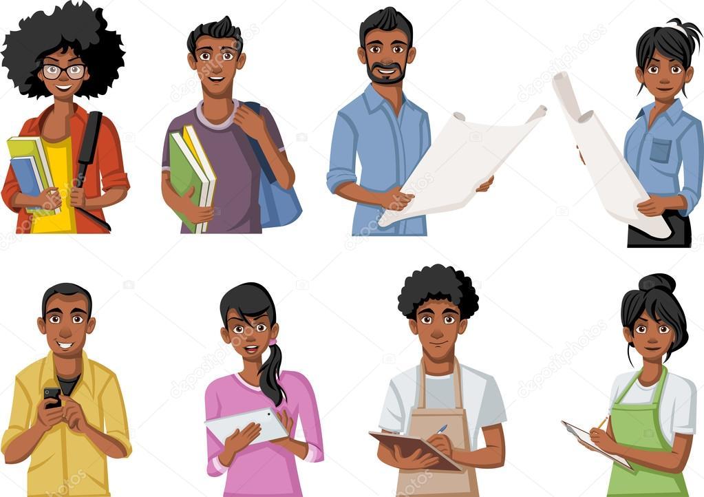 Grupo De Personas Dibujos Animados Negro