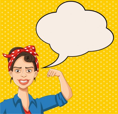 Retro strong woman talking with speech bubbles.