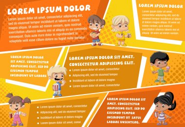 Vector brochure backgrounds with cartoon children eating junk food.