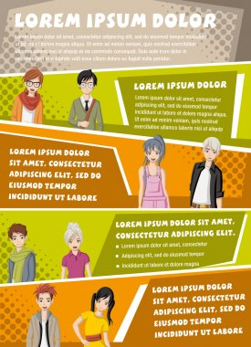 Vector brochure backgrounds with manga anime people.