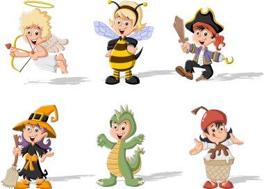 Cartoon kids wearing costumes