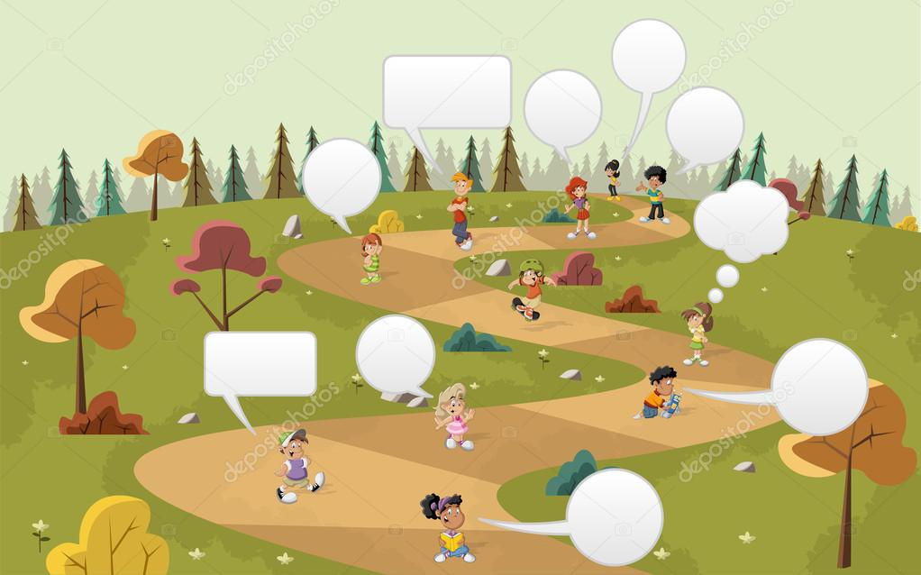 Cartoon children talking with speech balloon on the green park