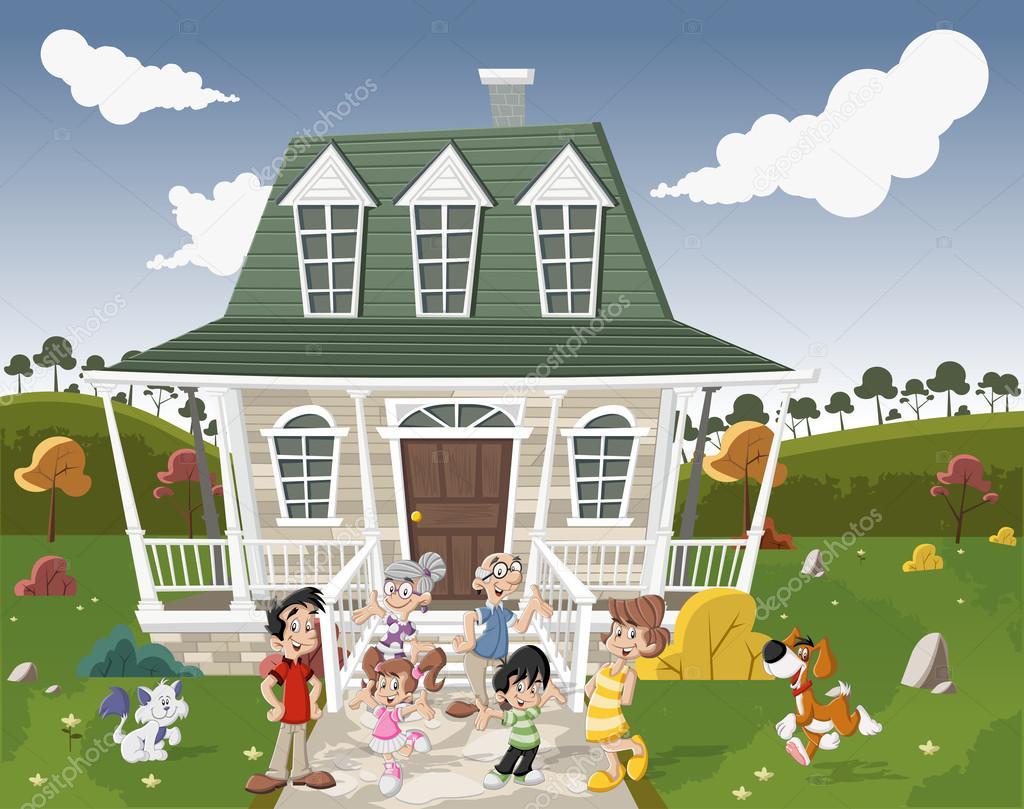 Imagen De Una Familia Feliz Animada: Familia De Dibujos Animados Con Animales Domésticos En
