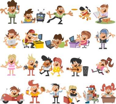 Cute happy cartoon people