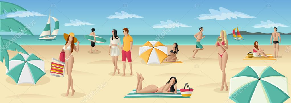 People on tropical beach