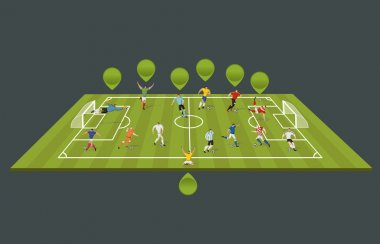 Soccer players kicking ball on the field.