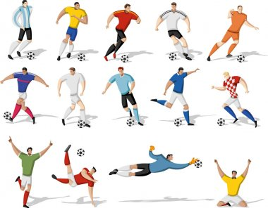 Soccer players kicking ball.