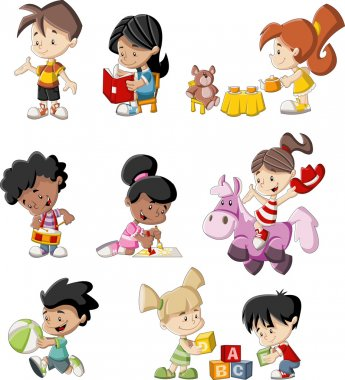 Group of happy cartoon children playing clip art vector