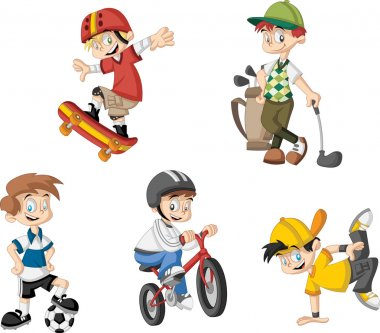 Cartoon boys playing various sports