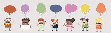 Cartoon people talking with speech balloon