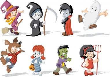 children wearing costumes of classic halloween monster characters