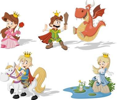 princesses and princes with dragon and frog