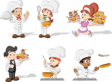 chefs cooking, waitress and waiter holding tray with fast food.