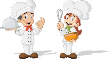 cartoon children chefs cooking