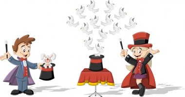 magician kids holding magic wands performing tricks with animals