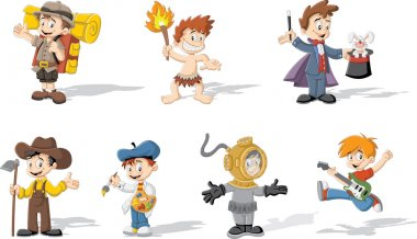 cartoon boys wearing different costumes