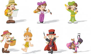 cartoon girls wearing different costumes