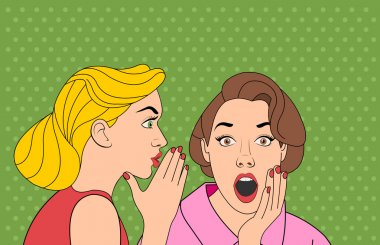 Beautiful retro woman whispering a gossip to her surprised friend.