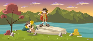 Cute cartoon kids on a green park with a blue lake