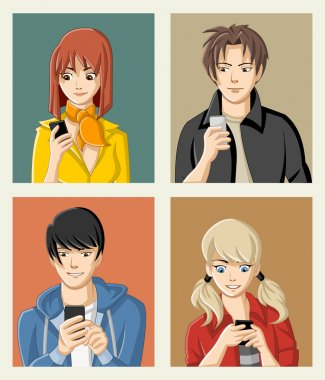 Group of cartoon young people with smart phones.
