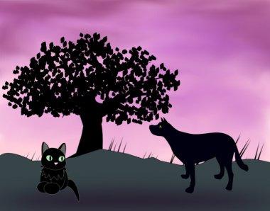 Animals at twilight.