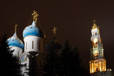 Night view of the Assumption Cathedral and the bell tower of the