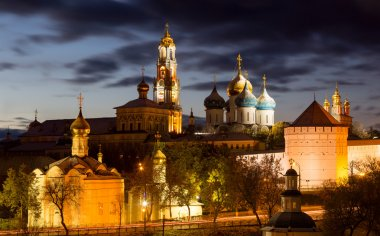 Panorama of the Trinity Lavra of St. Sergius after sunset with a