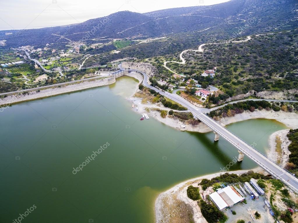 Aerial view of Germasogeia dam, Limassol, Cyprus