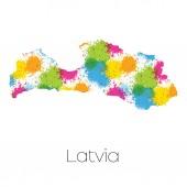 Mapa ze země Lotyšsko