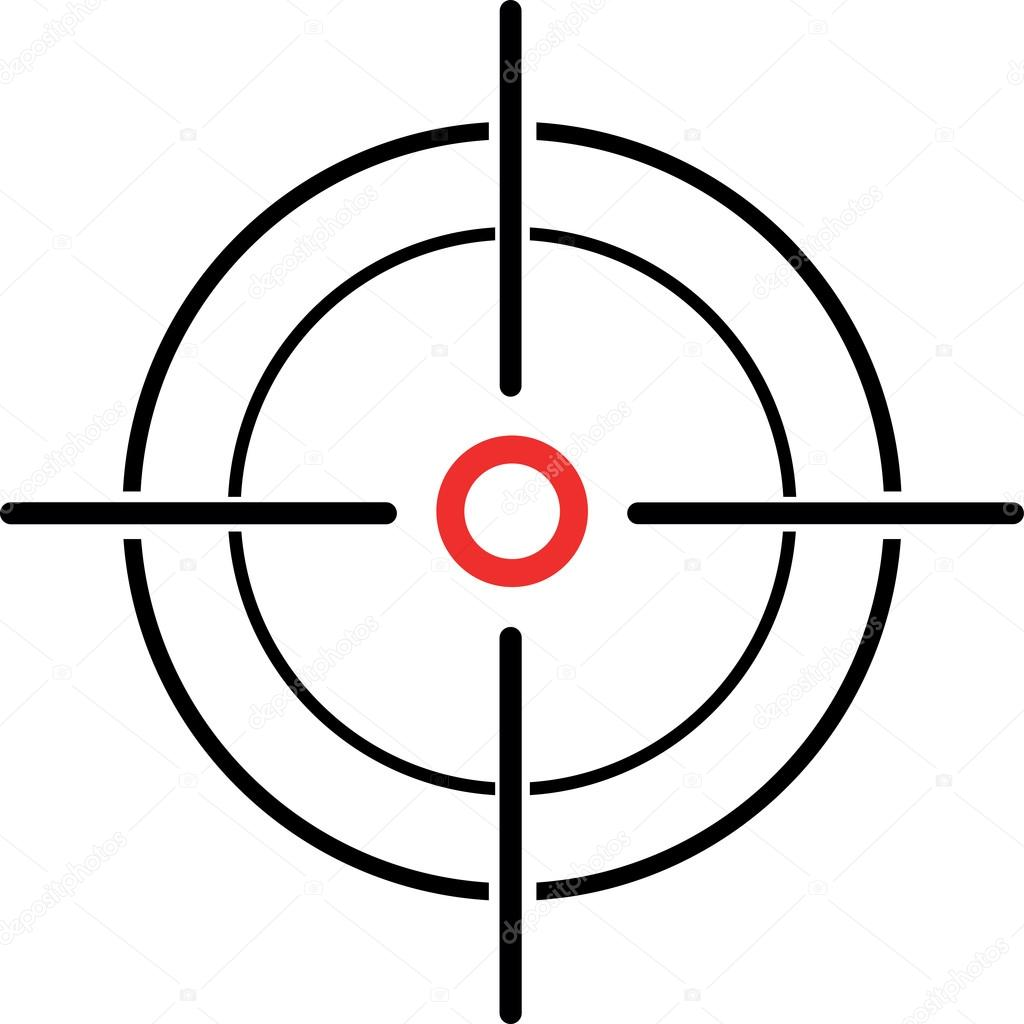 An Illustration of a crosshair reticle on a white background stock vector