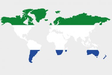 The world with flag of Sierra Leone