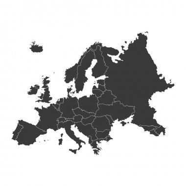 An Outline on clean background of the continent of Europe stock vector